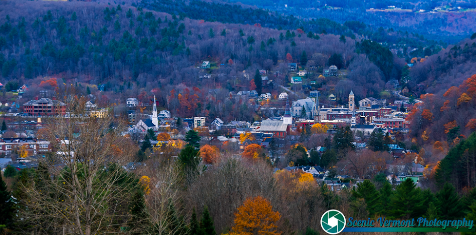Looking down into Montpelier last week