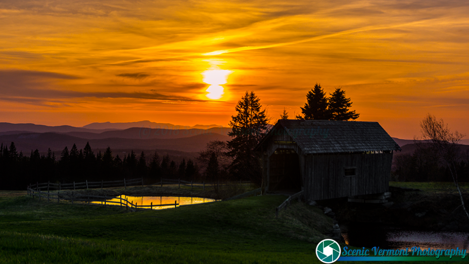 Sunset at the Foster Covered Bridge in Cabot.