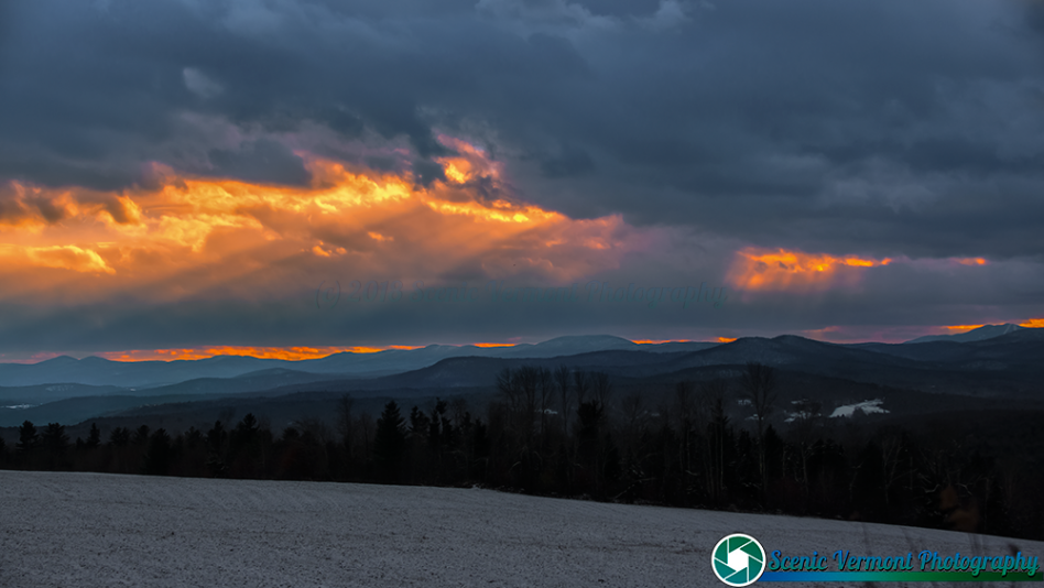 Cold and windy sunset over looking the Green Mountains.