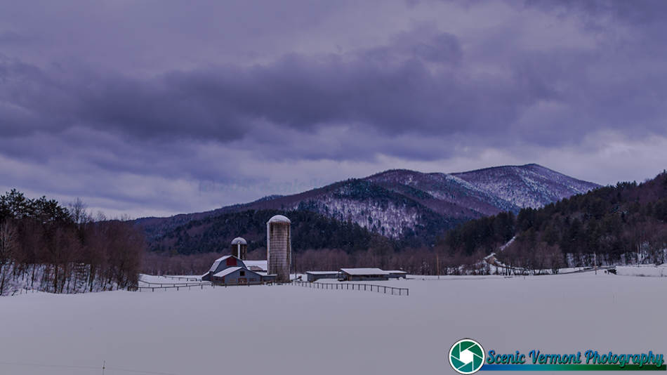Dairy farm in Stockbridge Vermont, On a very cold day.