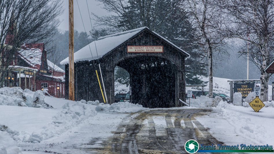 A passing snow shower at the Vermont Country Store