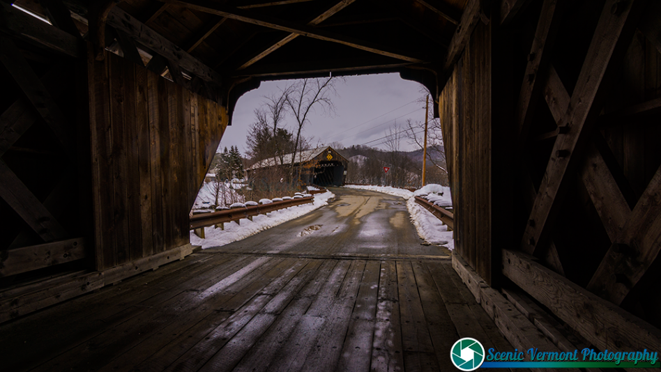 Looking from one covered bridge to the other in Hartland Vermont