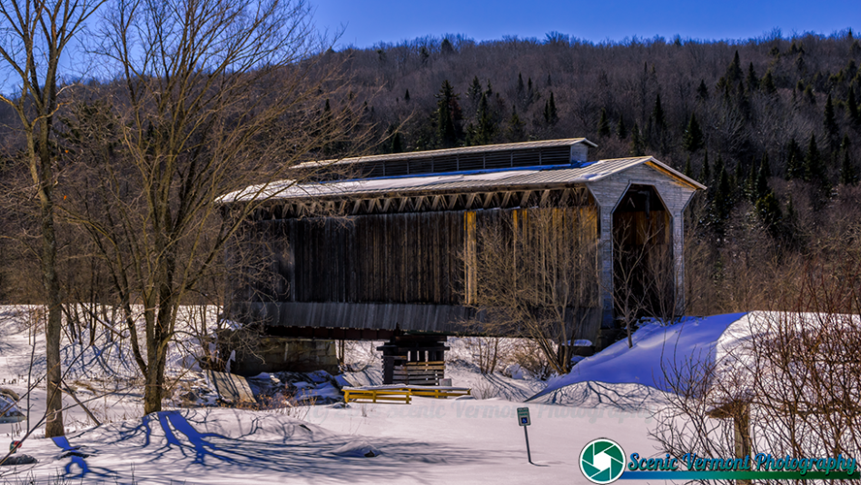 The Fisher Covered Railroad Bridge in Wolcott, Vermont